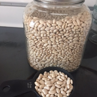 Dried white beans. These happen to be navy beans, but any small, white bean would be fine.