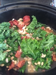 All ingredients in crockpot, kale added.